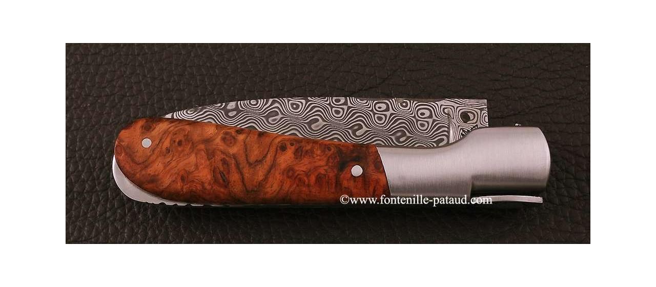 Corsican Pialincu knife Damascus range Stabilized poplar burl