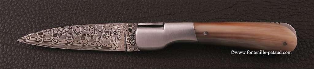 Corsican Pialincu knife Damascus range Real Horn Tip