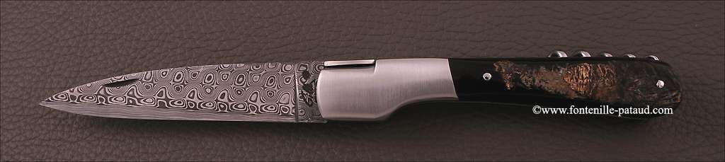 Corsican Vendetta knife Damascus Range with corkscrew Buffalo bark