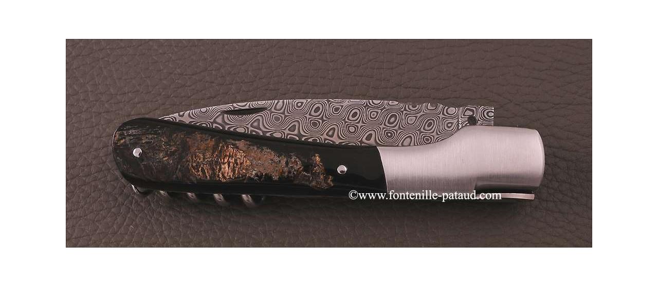 Corsican Vendetta knife Damascus Range with corkscrew Buffalo bark