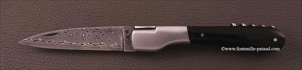 Couteau Vendetta Corse Damas avec tire-bouchon Pointe de corne noire