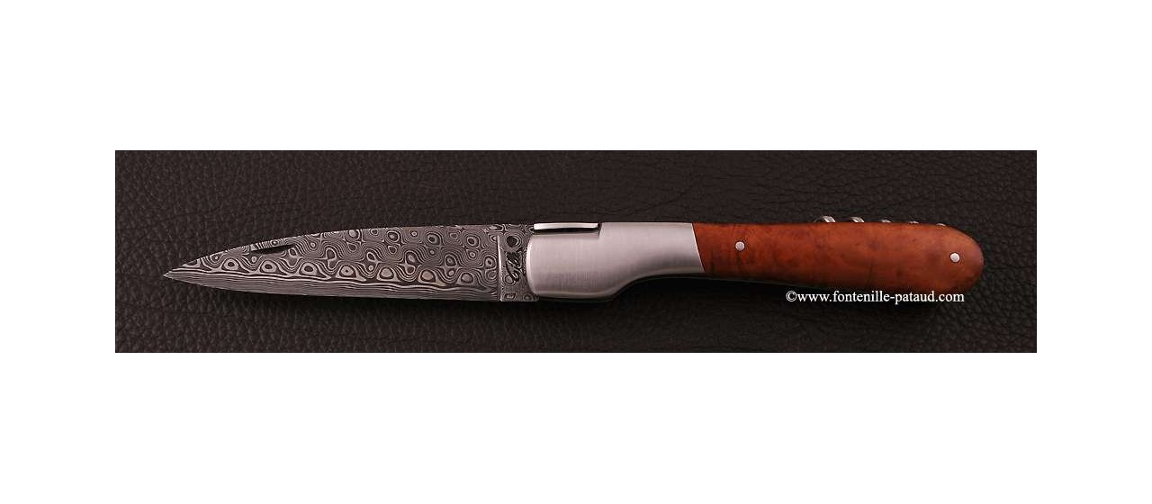 Corsican Vendetta knife Damascus Range with corkscrew Briar