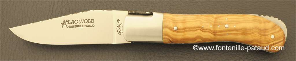 Laguiole Knife Gentleman Guilloche Range Olivewood