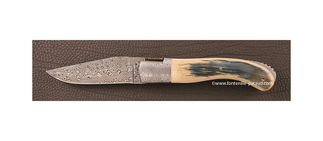 Couteau Laguiole Sport Damas Ivoire de mammouth bleu Guillochage fin dore