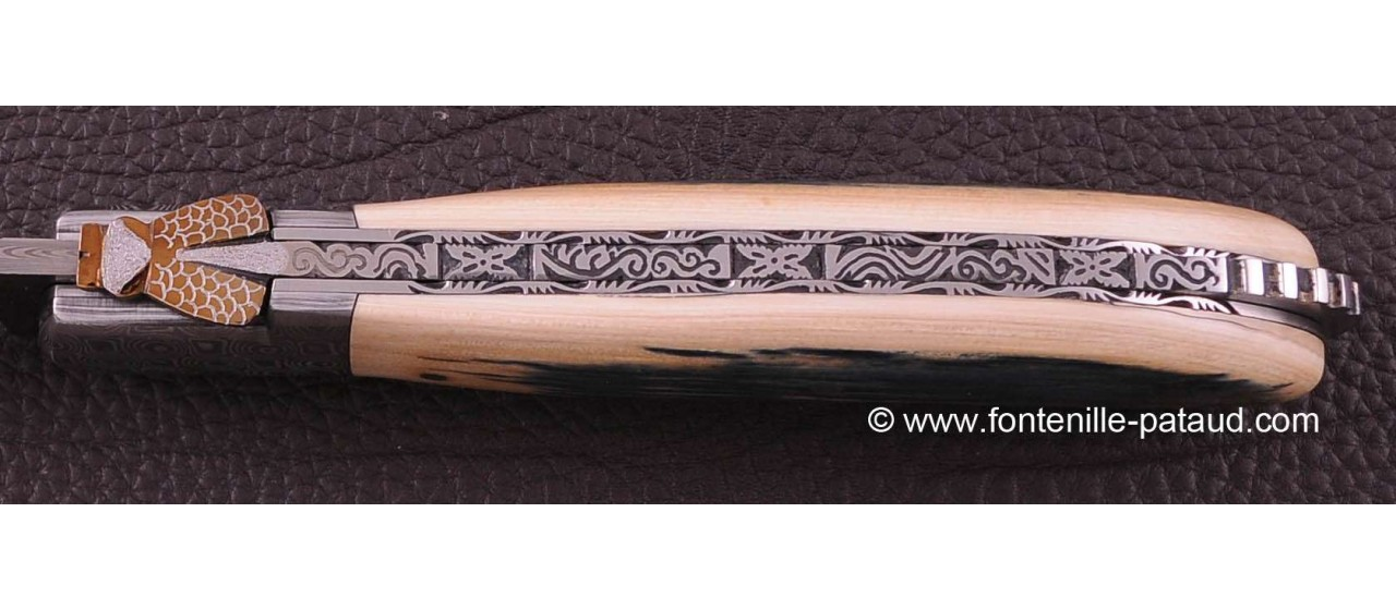 Laguiole Knife Sport Damascus Range Blue mammoth ivory Delicate file work Gold
