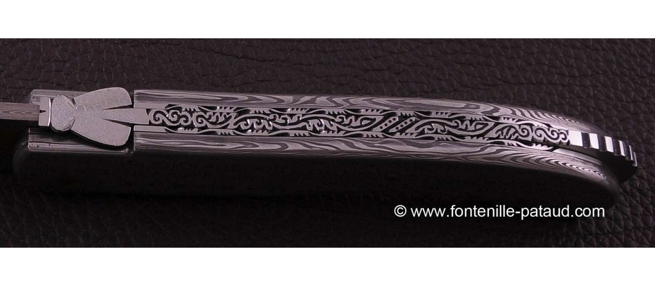 Laguiole Knife Sport Full Damascus Steel Delicate file work