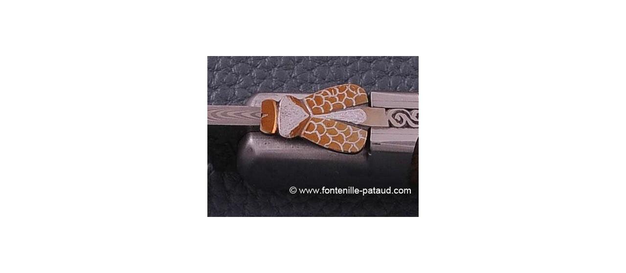 Laguiole Knife Sport Damascus Range walnut Delicate file work Gold