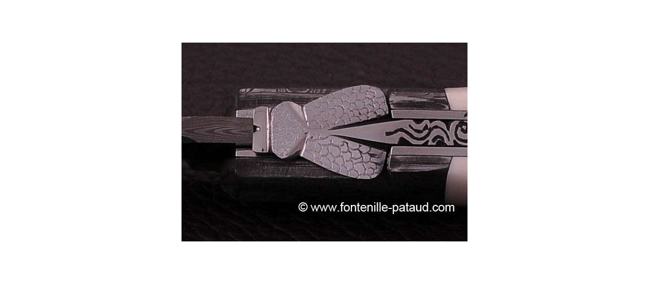 Laguiole Knife Sport Damascus Range ivory Delicate file work Gold