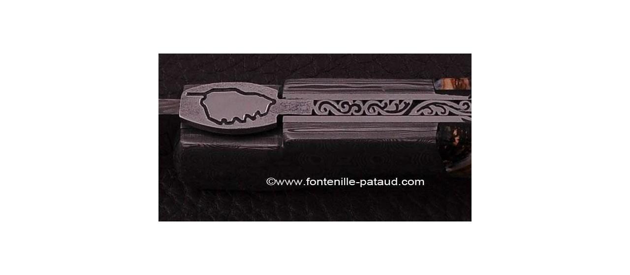 Couteau Sperone Corse d' exception avec Molaire de mammouth et Guillochage fin