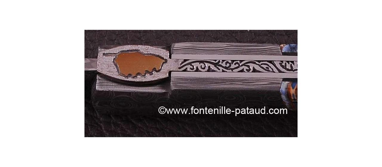 Couteau Sperone Corse Molaire de mammouth avec guillochage fin