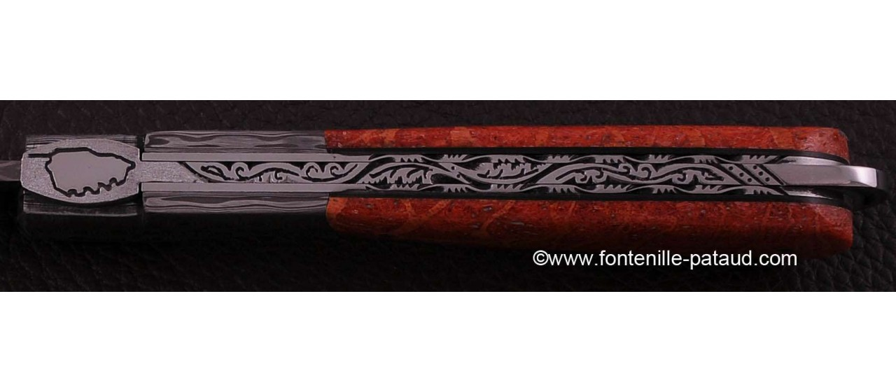 Corsican Sperone knife Collection Range Red Coral fossilized Delicate file work