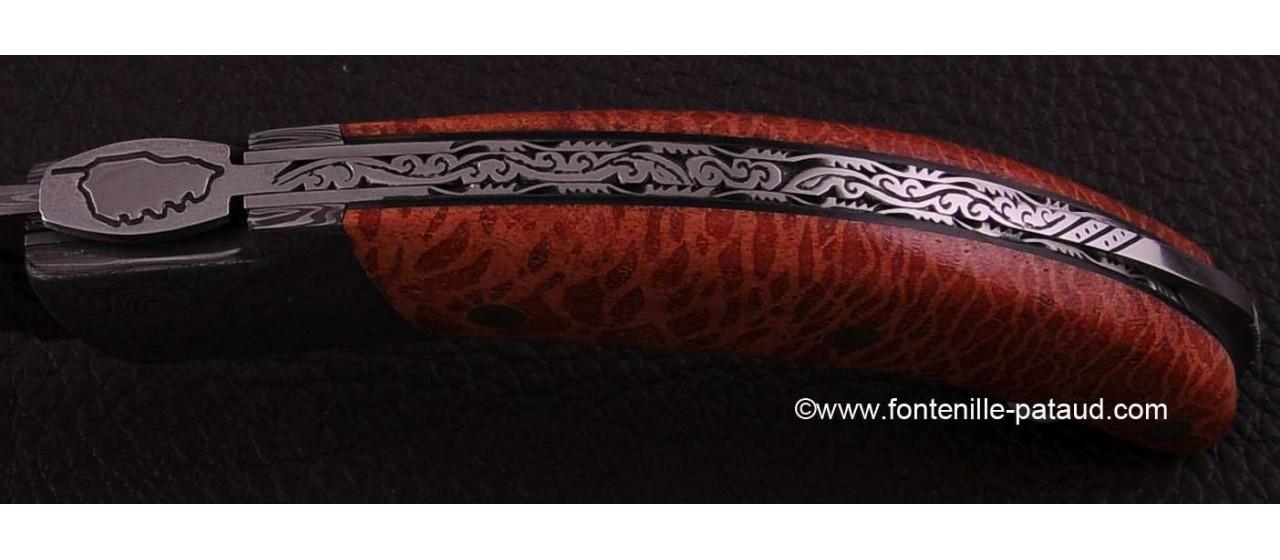 Corsican Rondinara knife damascus range red coral delicate filework