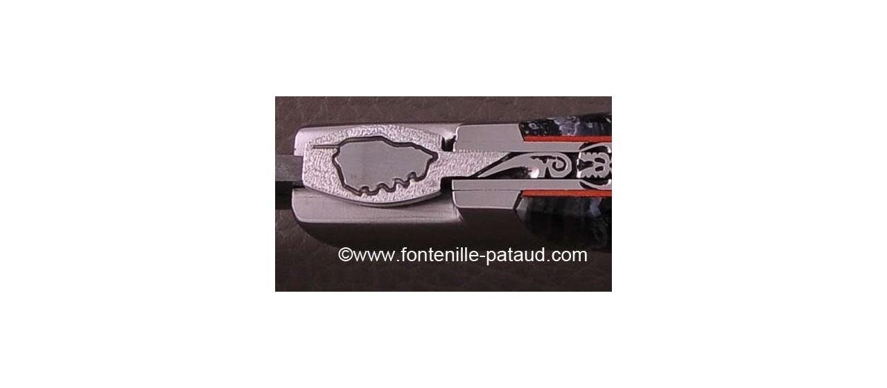 Corsican Rondinara knife with damascus blade molar tooth of mammoth