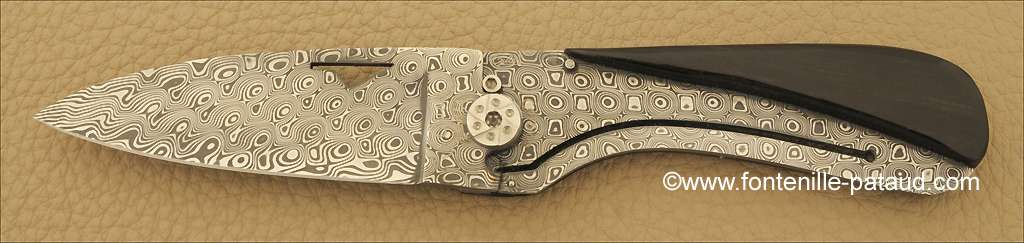 Corsican U Cumpa knife Damascus Range Ebony