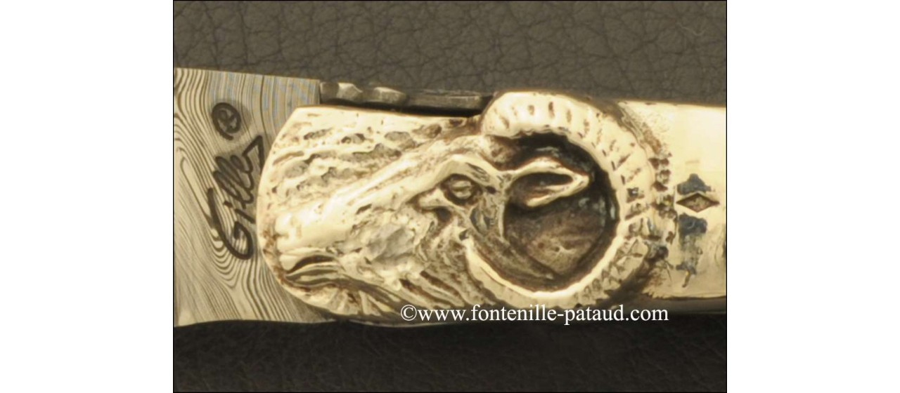 Laguiole damascus knife with sterling silver ring