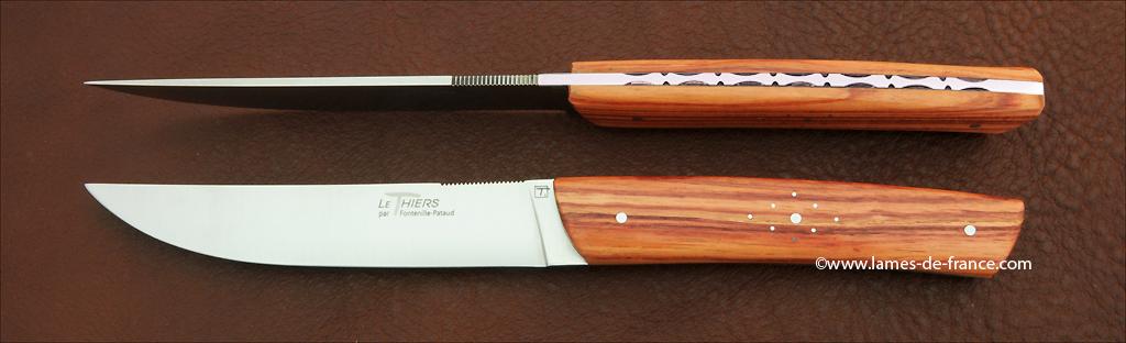 Couteaux le Thiers de table bois de rose, couteaux made in france
