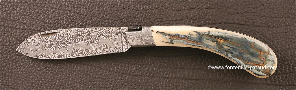 Couteau le Chamois 12 Guillochage fin et mammouth bleu