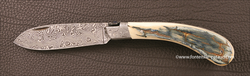 "Le Chamois knife, blue mammoth ivory, damascus range, ""guillochage fin"""