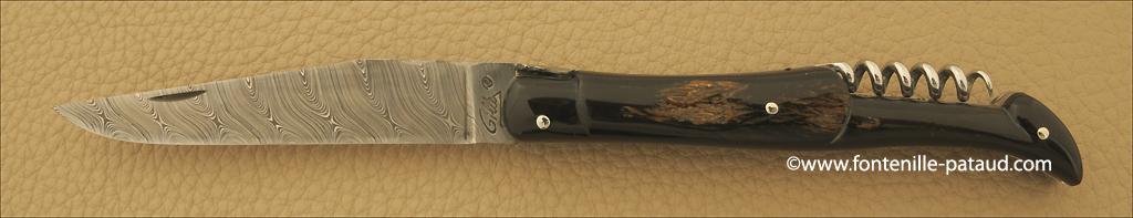 Couteau Laguiole 12 cm lame damas torsadé fabrication en France par la coutellerie Fontenille-Pataud