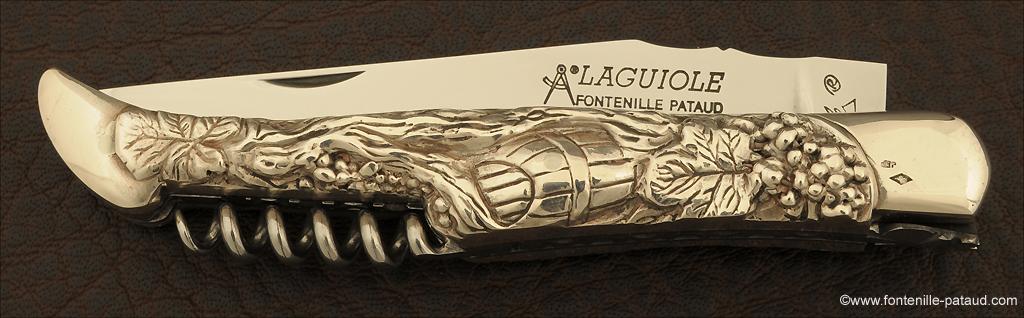 Couteau Laguiole collection vignoble en argent masif