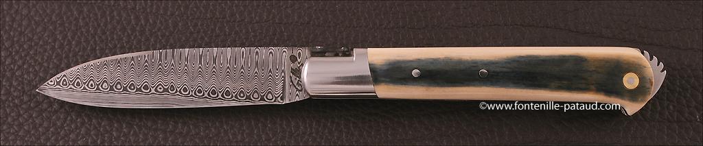couteau le 5 Coqs en ivoire de mammouth bleu et guillochage fin, couteau made in france