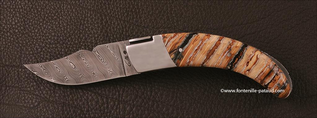 Le Rondinara knife Damascus blade, Molar tooth of mammoth