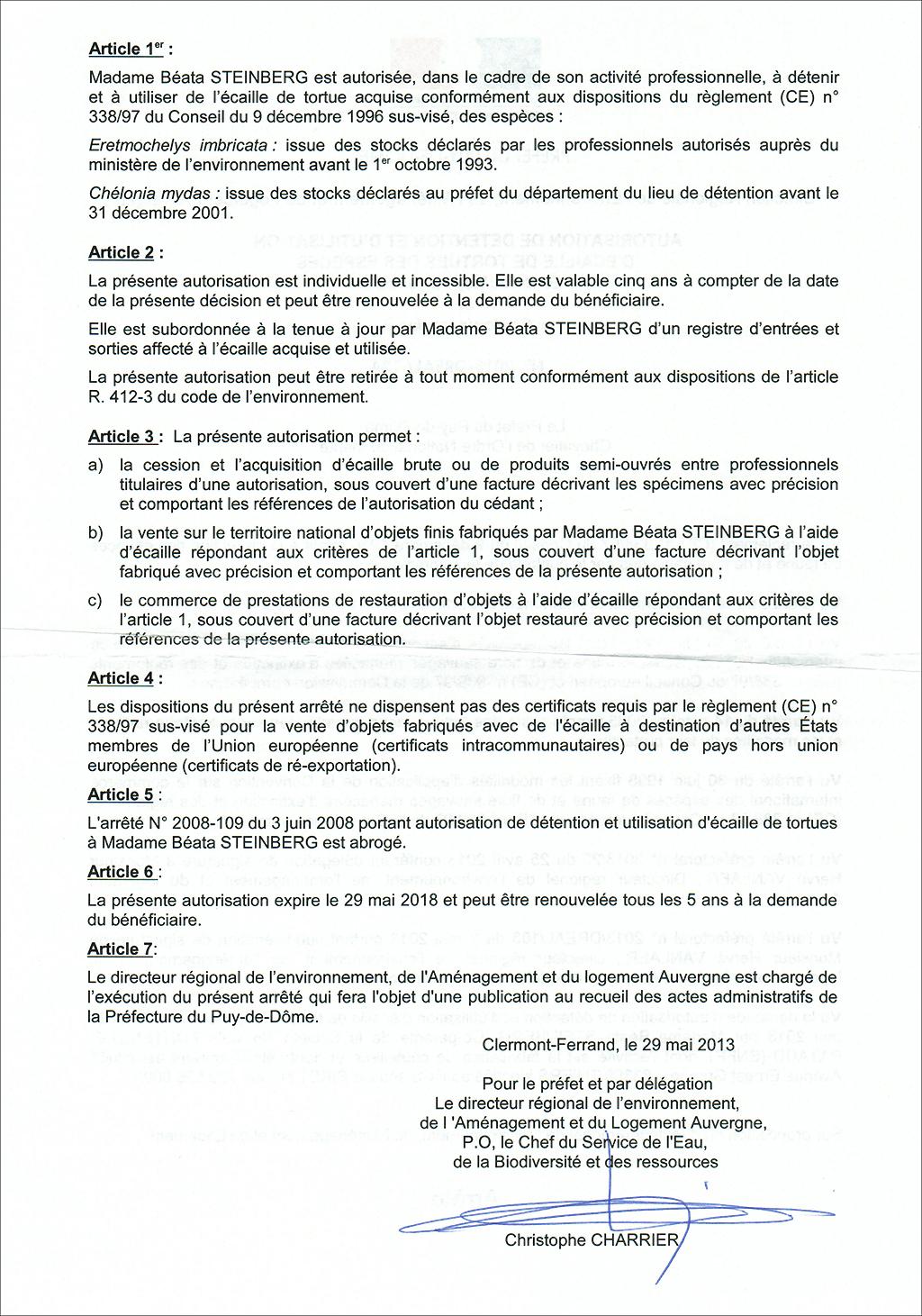 Autorisation ecaille de tortue couteaux laguiole