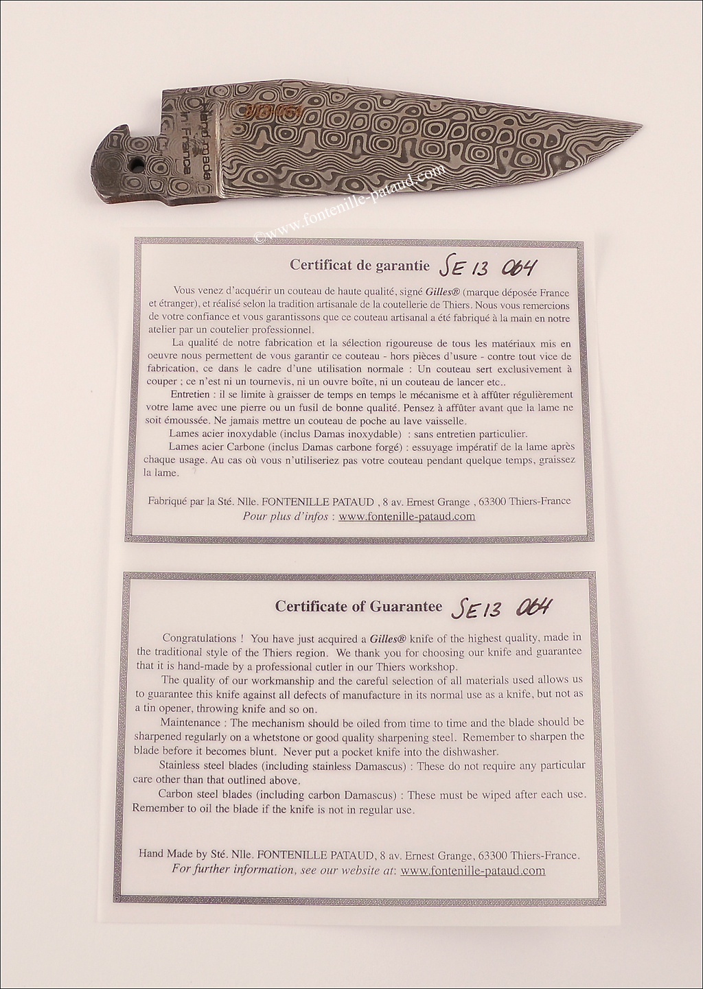 lifetime guarantee laguiole knife damascus