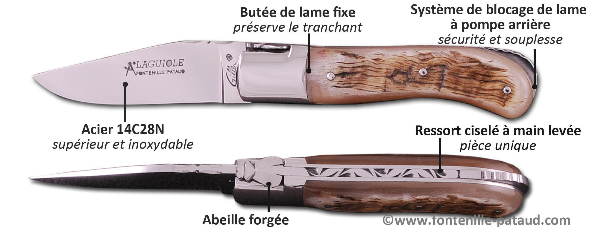 Couteau Laguiole Gentleman 10.5cm, couteau Laguiole discret mais robuste