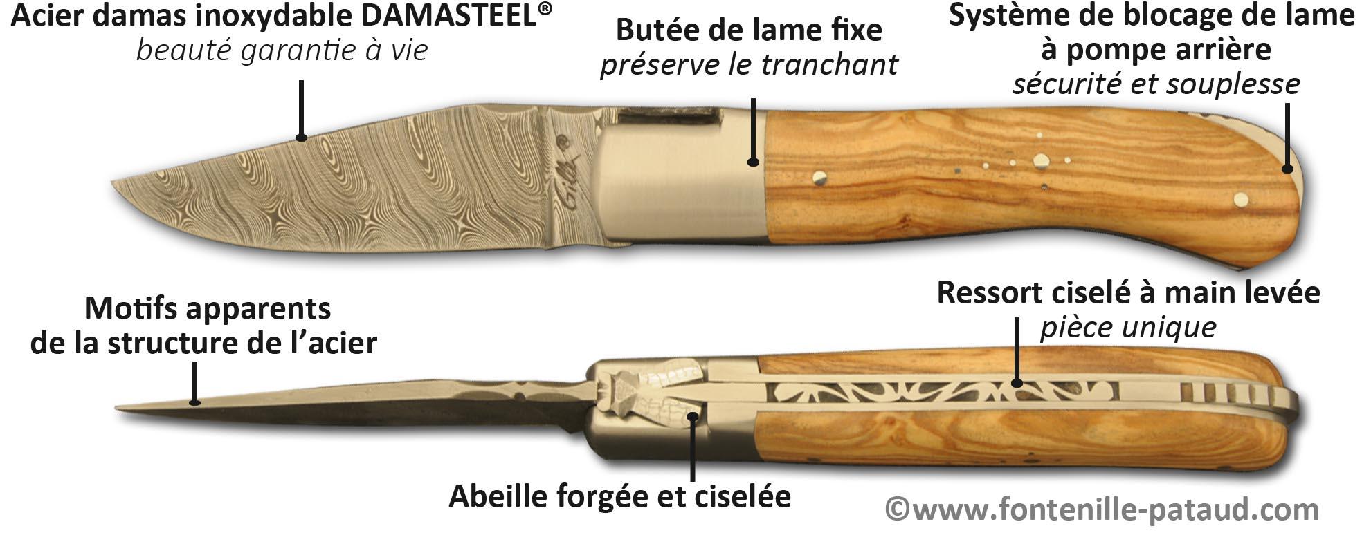 Couteau Laguiole Gentleman avec lame en acier damas inoxydable : ne s'oxyde pas