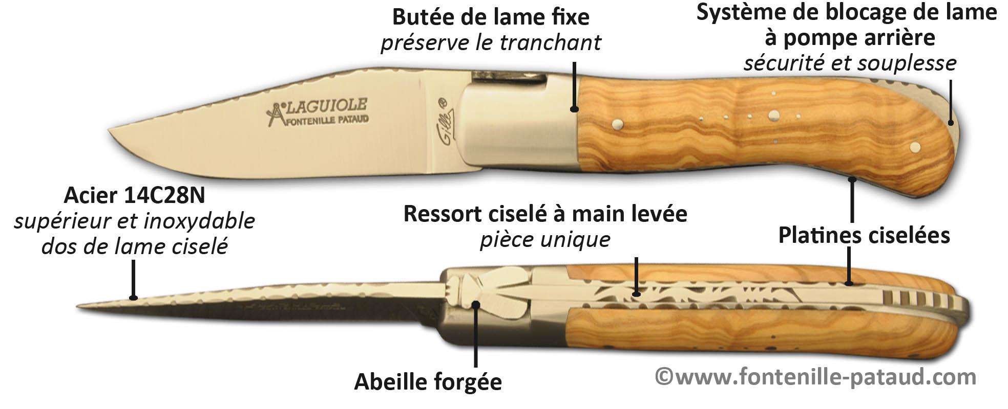 Couteau Laguiole Gentleman avec le dos de la lame, les platines et le ressort ciselés