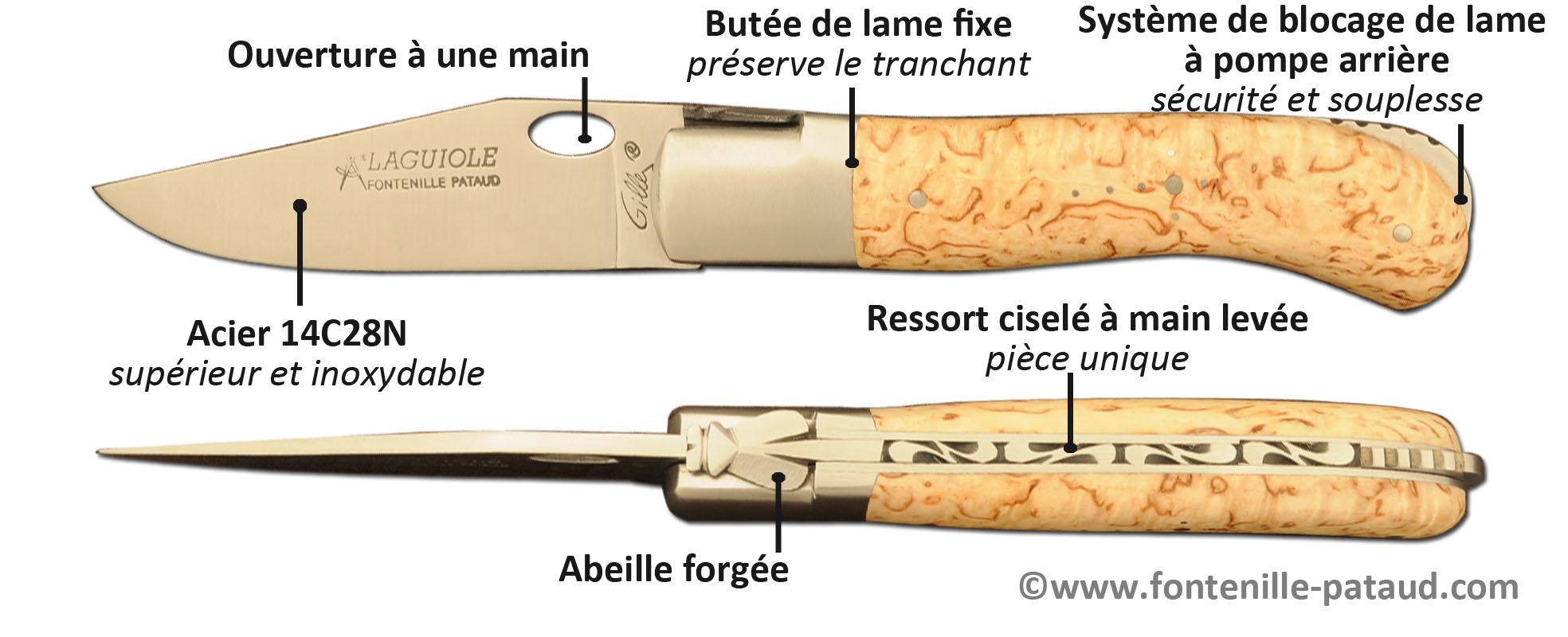 Couteau Laguiole Gentleman ouverture à une main, Laguiole artisanal