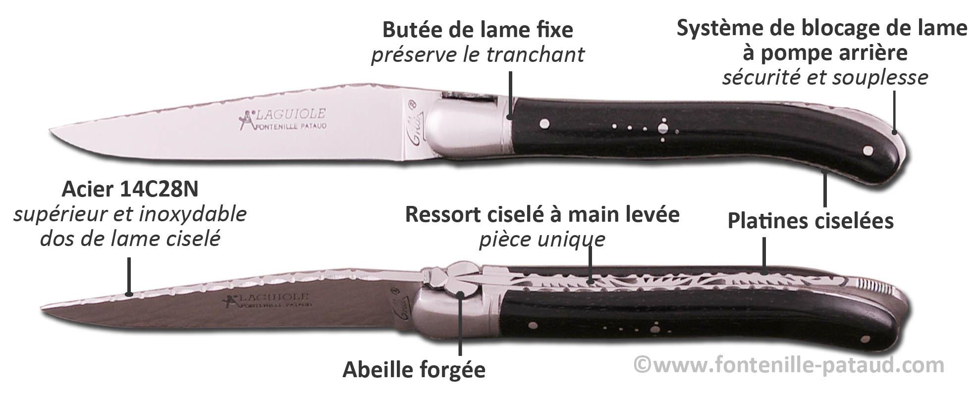 Couteau Laguiole Nature guilloché avec système de blocage de lame