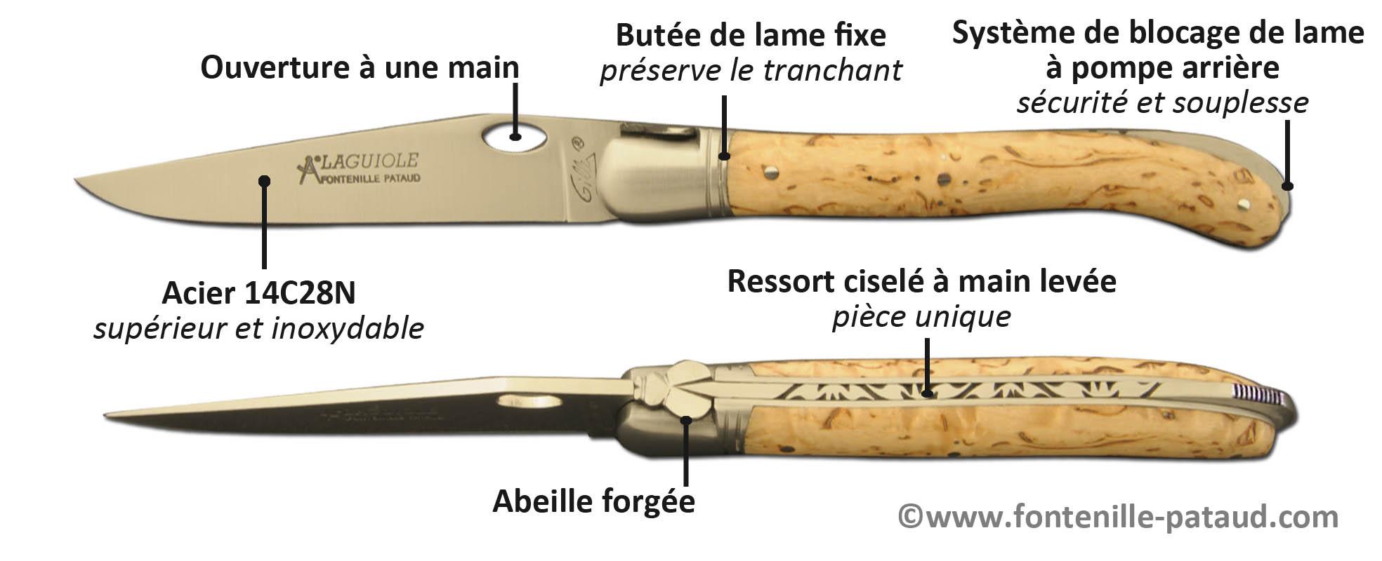 Couteau Laguiole Nature avec système d'ouverture à une main sur la lame