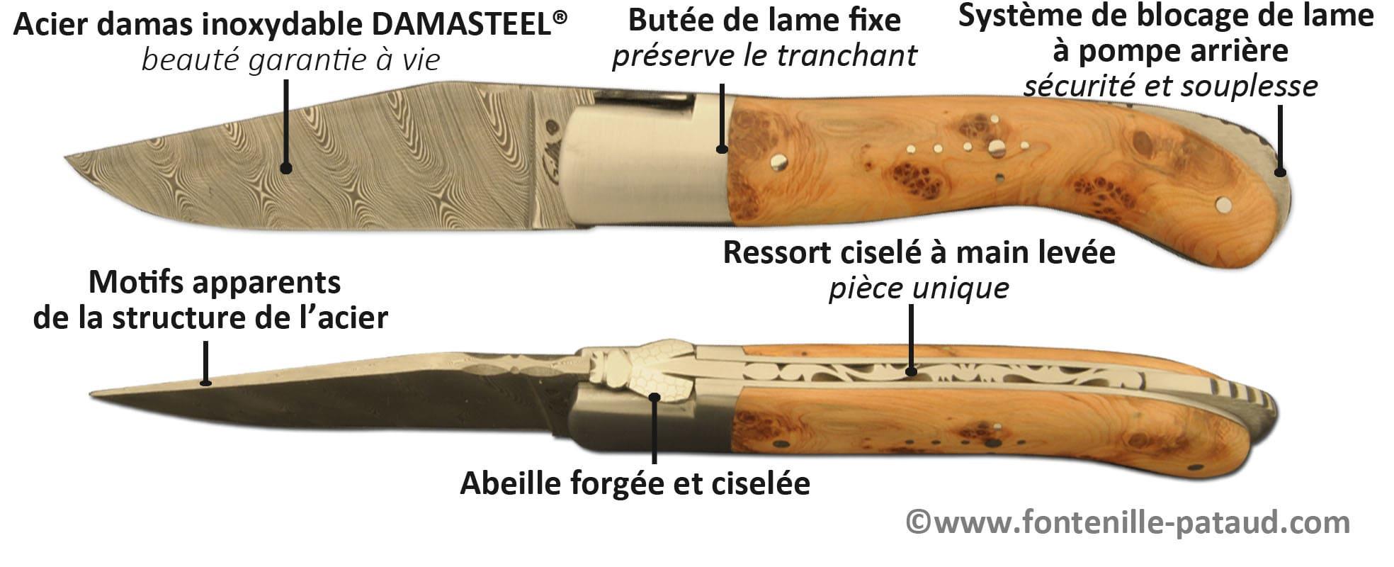 Couteau Laguiole sport 13 cm avec lame en acier damas inoxydable