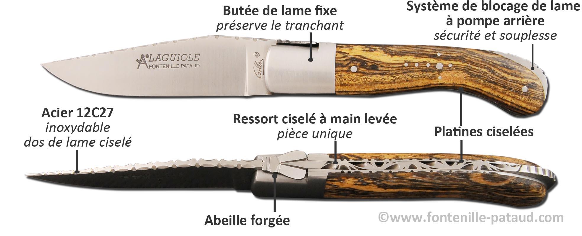 Laguiole sport guilloché garantie à vie, Laguiole de fabrication française