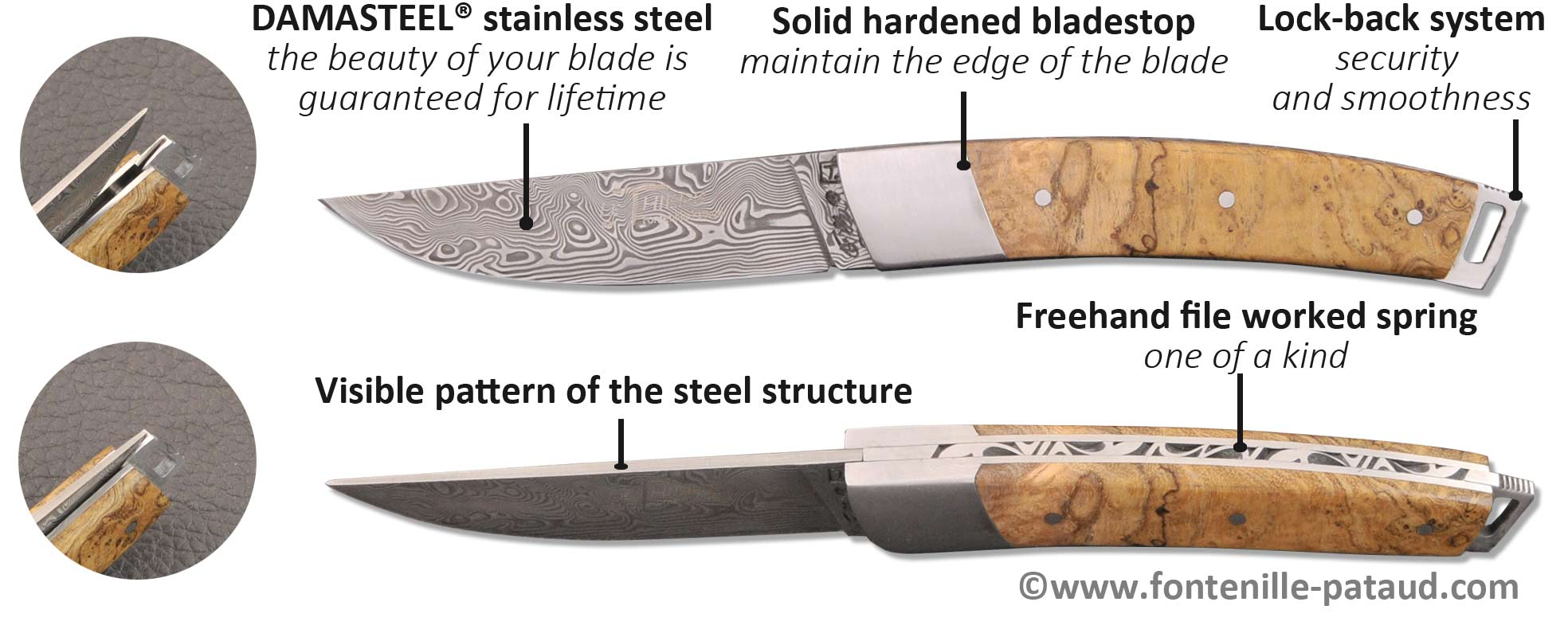 le thiers pocket knife damascus