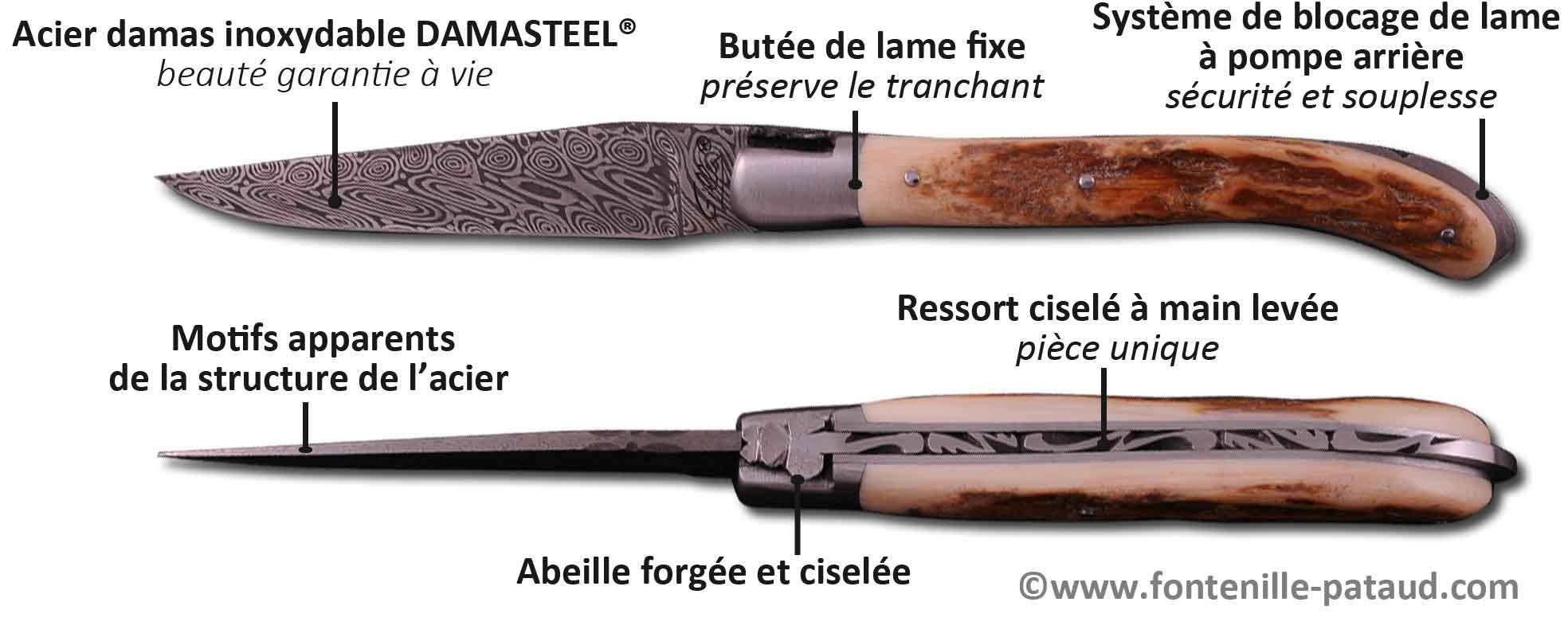 Couteau Laguiole XS avec lame damas
