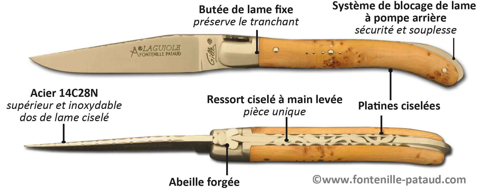 Laguiole XS, petit Laguiole made in France, avec blocage de lame