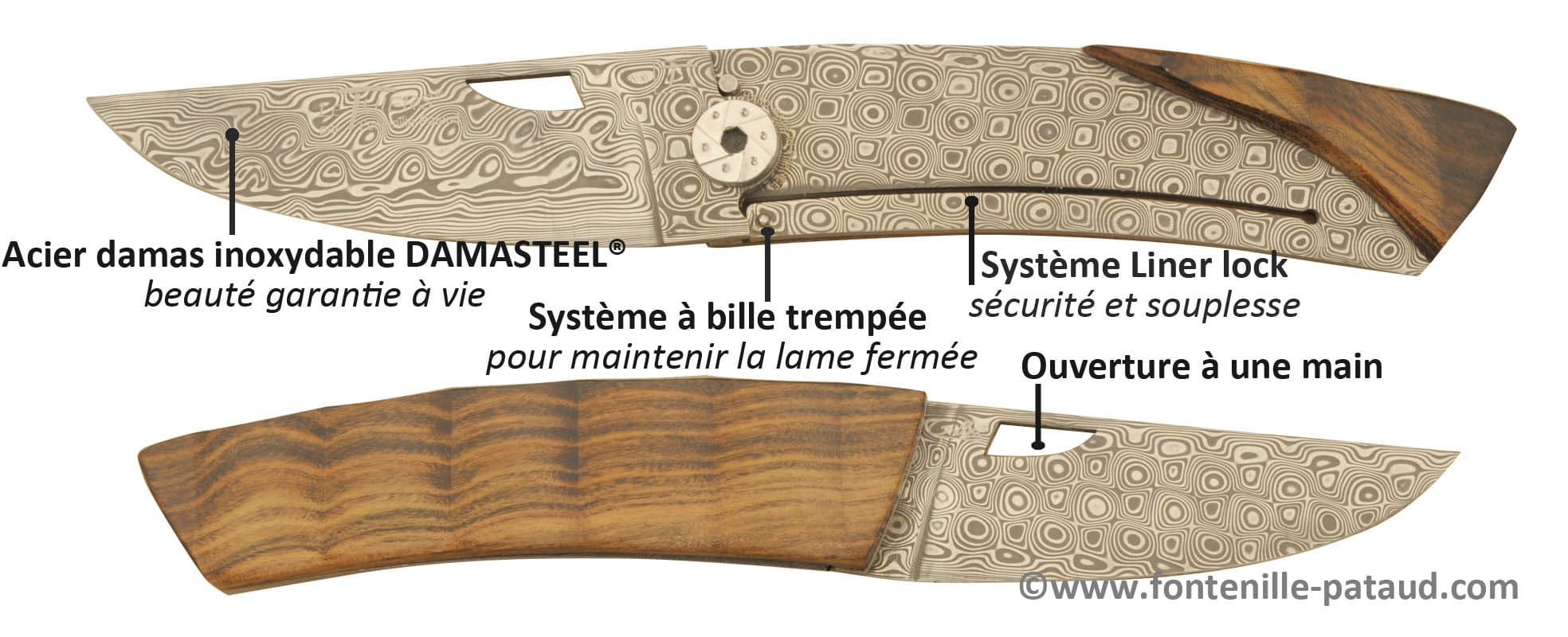 bed652112792 Couteau Le Thiers Damas inoxydable - Laguiole Fontenille Pataud