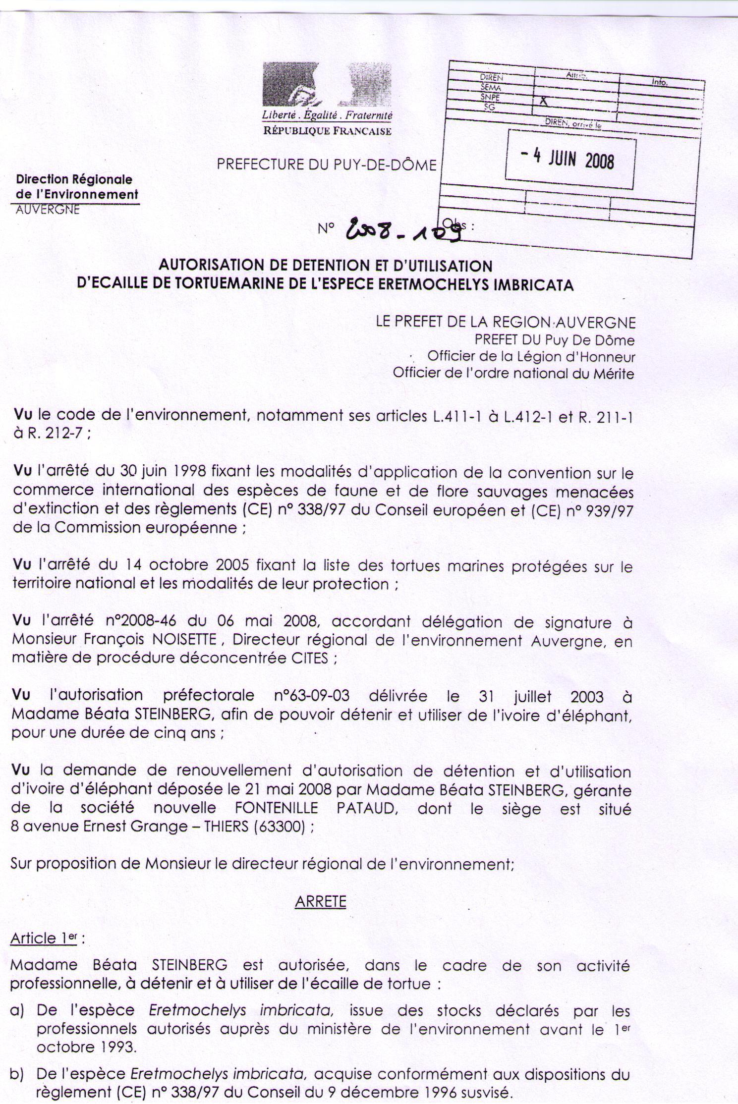 Autorisation couteaux écaille Fontenille Pataud