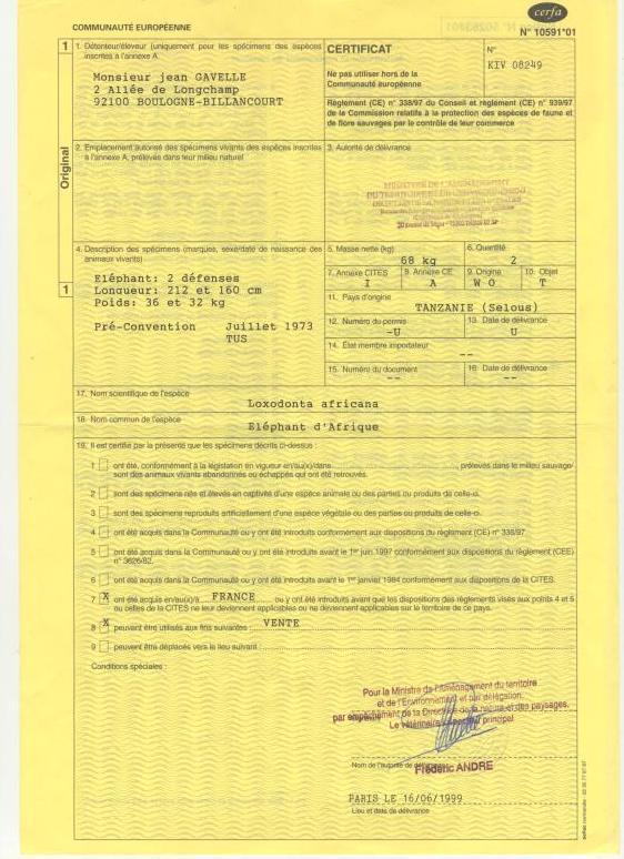 Certificat 2 autorisation couteaux ivoire