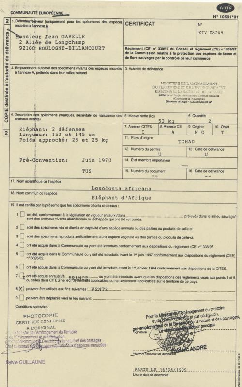Certificat 4 autorisation couteaux ivoire