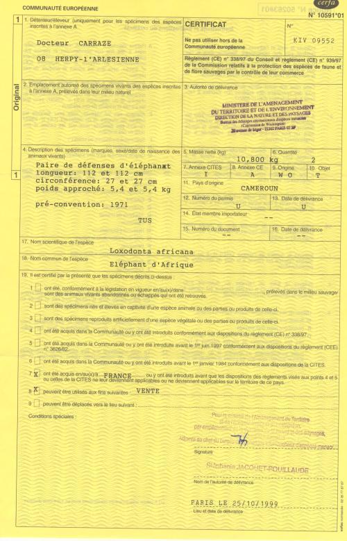 Certificat 5 autorisation couteaux ivoire