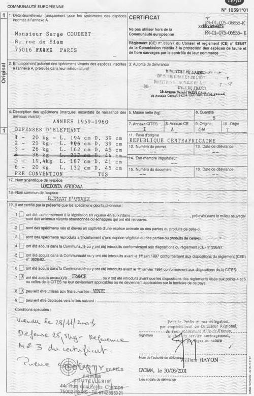Certificat 1 autorisation couteaux ivoire