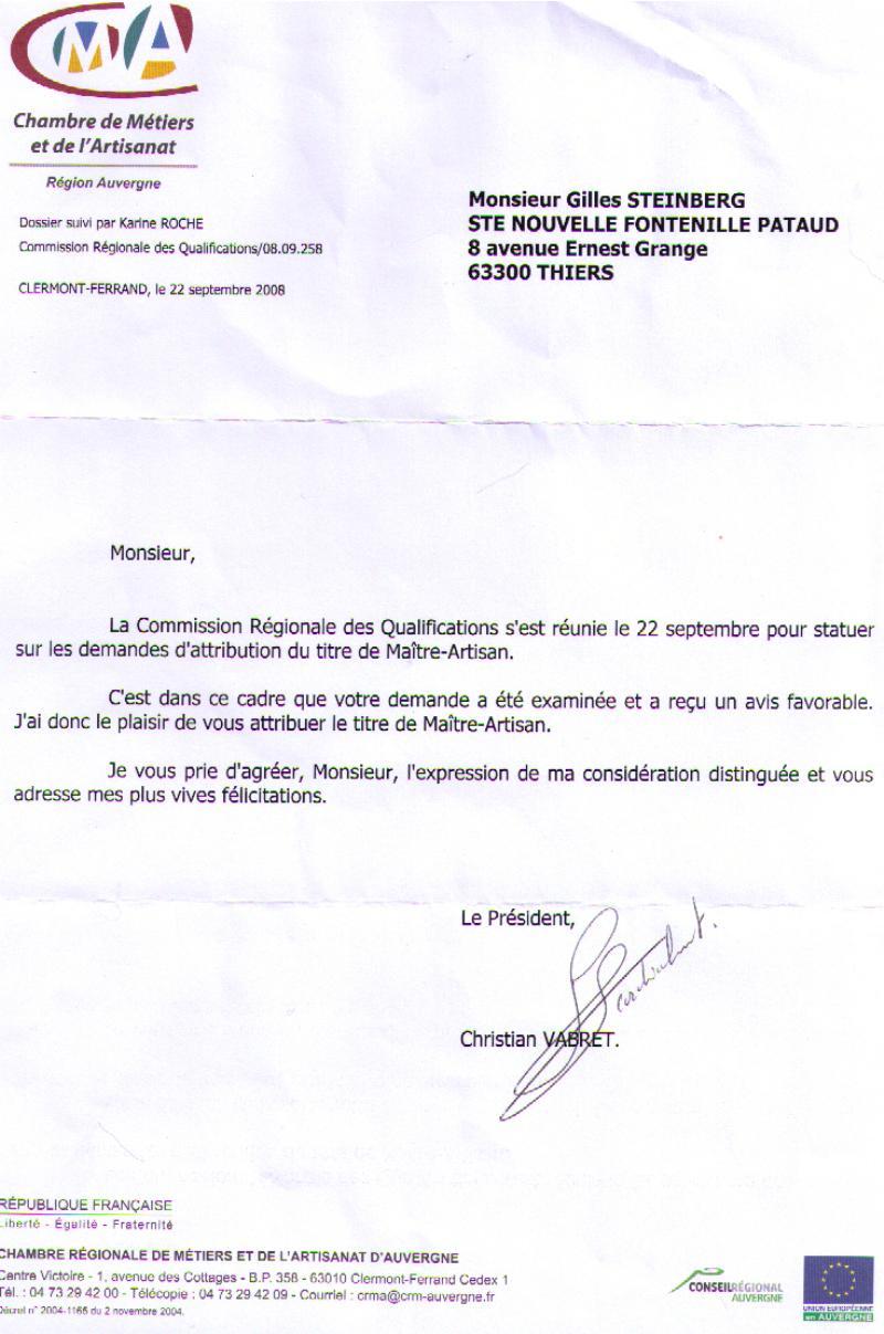 Certificat Maître Artisan Coutelier